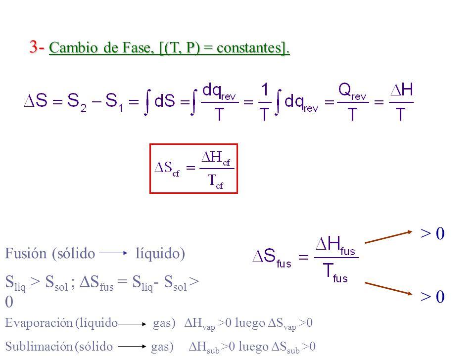 3- Cambio de Fase, [(T, P) = constantes].